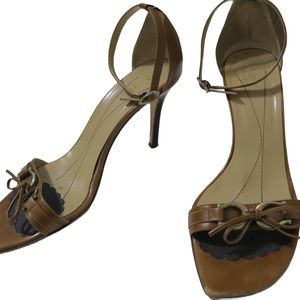 Kate Spade Bow Brown Leather Heels Made in Italy 9
